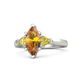 Marquise Citrine 14K White Gold Ring with Yellow Sapphire