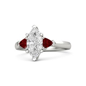 Marquise White Sapphire 14K White Gold Ring with Ruby