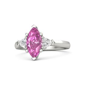 Marquise Pink Sapphire 14K White Gold Ring with White Sapphire