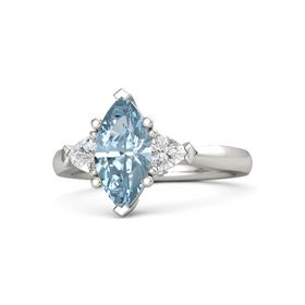 Marquise Aquamarine 14K White Gold Ring with White Sapphire