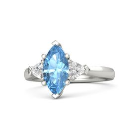 Marquise Blue Topaz 14K White Gold Ring with White Sapphire