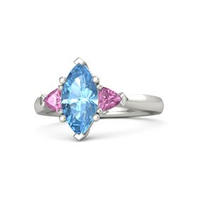 Marquise Blue Topaz 14K White Gold Ring with Pink Sapphire