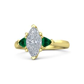 Marquise Diamond 14K Yellow Gold Ring with Emerald