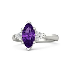 Marquise Amethyst 18K White Gold Ring with White Sapphire