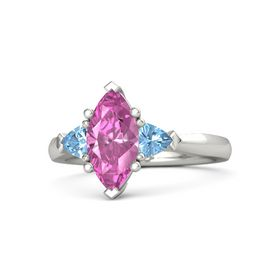 Marquise Pink Sapphire 18K White Gold Ring with Blue Topaz
