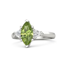 Marquise Peridot Palladium Ring with White Sapphire