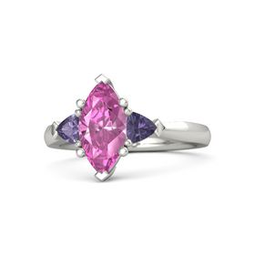 Marquise Pink Sapphire Platinum Ring with Iolite