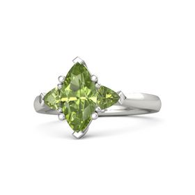 Marquise Peridot Platinum Ring with Peridot