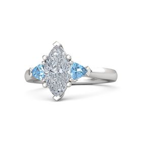 Marquise Diamond Sterling Silver Ring with Blue Topaz
