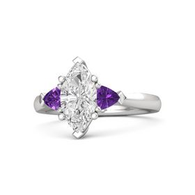 Marquise White Sapphire Sterling Silver Ring with Amethyst