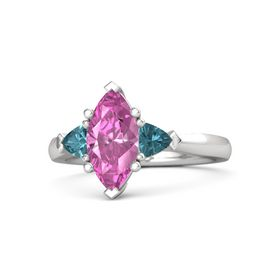 Marquise Pink Sapphire Sterling Silver Ring with London Blue Topaz