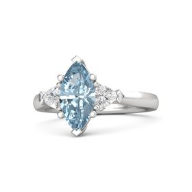 Marquise Aquamarine Sterling Silver Ring with White Sapphire