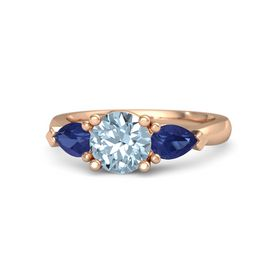 Round Aquamarine 14K Rose Gold Ring with Blue Sapphire