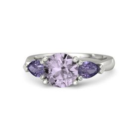 Round Rose de France 14K White Gold Ring with Iolite