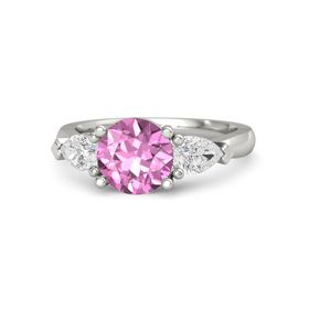 Round Pink Sapphire 14K White Gold Ring with White Sapphire