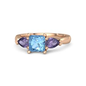 Princess Blue Topaz 14K Rose Gold Ring with Iolite