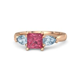 Princess Pink Tourmaline 14K Rose Gold Ring with Aquamarine