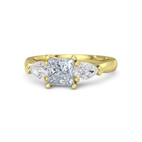 Princess Diamond 14K Yellow Gold Ring with White Sapphire