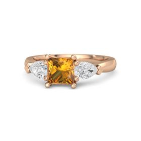 Princess Citrine 18K Rose Gold Ring with White Sapphire