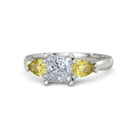 Princess Diamond 18K White Gold Ring with Yellow Sapphire