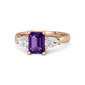 Emerald-Cut Amethyst 14K Rose Gold Ring with White Sapphire
