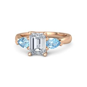 Emerald Diamond 14K Rose Gold Ring with Blue Topaz