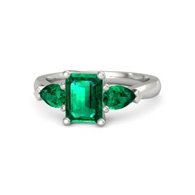 Emerald-Cut Emerald 14K White Gold Ring with Emerald