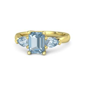 Emerald Aquamarine 14K Yellow Gold Ring with Aquamarine