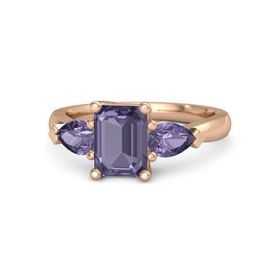Emerald Iolite 18K Rose Gold Ring with Iolite