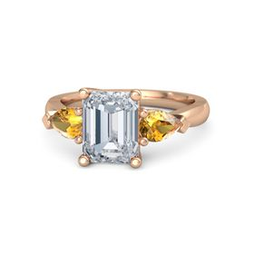 Emerald Diamond 14K Rose Gold Ring with Citrine