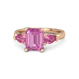 Emerald-Cut Pink Sapphire 14K Rose Gold Ring with Pink Tourmaline