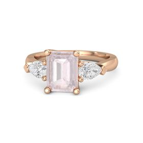 Emerald-Cut Rose Quartz 14K Rose Gold Ring with White Sapphire
