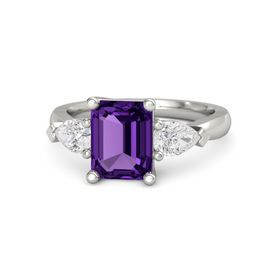 Emerald Amethyst 14K White Gold Ring with White Sapphire