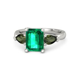 Emerald-Cut Emerald 14K White Gold Ring with Green Tourmaline