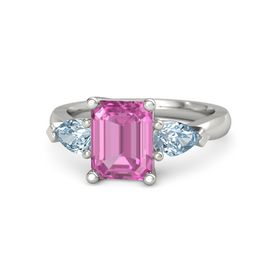 Emerald Pink Sapphire 14K White Gold Ring with Aquamarine
