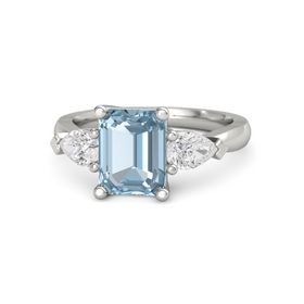 Emerald Aquamarine 14K White Gold Ring with White Sapphire
