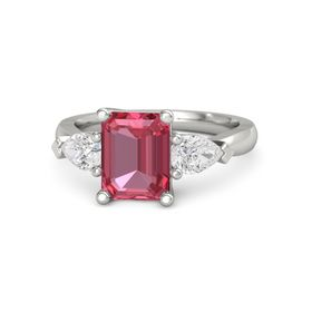 Emerald Pink Tourmaline 14K White Gold Ring with White Sapphire