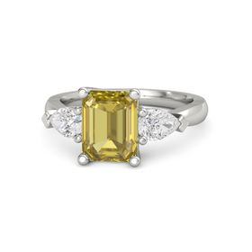 Emerald-Cut Yellow Sapphire 14K White Gold Ring with White Sapphire