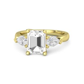 Emerald-Cut Rock Crystal 14K Yellow Gold Ring with White Sapphire