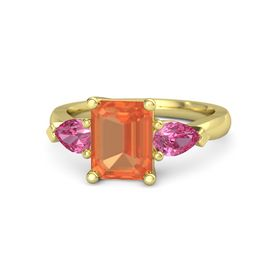 Emerald Fire Opal 14K Yellow Gold Ring with Pink Tourmaline