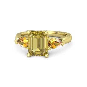 Emerald-Cut Yellow Sapphire 14K Yellow Gold Ring with Citrine