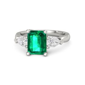 Emerald-Cut Emerald Palladium Ring with White Sapphire