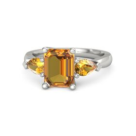 Emerald-Cut Citrine Platinum Ring with Citrine