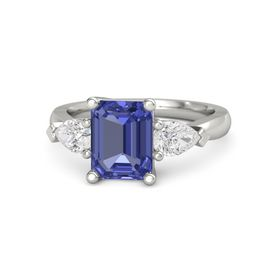 Emerald Tanzanite Platinum Ring with White Sapphire