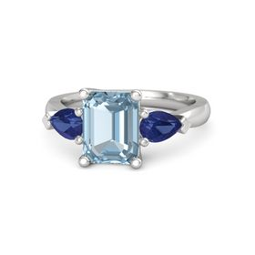 Emerald Aquamarine Sterling Silver Ring with Blue Sapphire