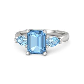 Emerald-Cut Blue Topaz Sterling Silver Ring with Blue Topaz