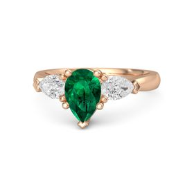 Pear Emerald 14K Rose Gold Ring with White Sapphire