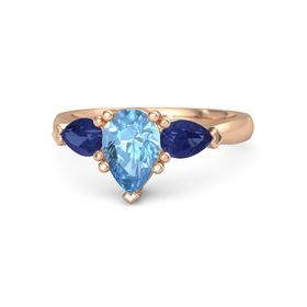 Pear Blue Topaz 14K Rose Gold Ring with Blue Sapphire