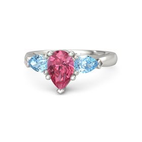 Pear Pink Tourmaline 14K White Gold Ring with Blue Topaz