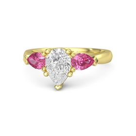Pear White Sapphire 14K Yellow Gold Ring with Pink Tourmaline